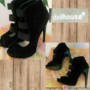 Dollhouse Strappy Black Velvet Stiletto Ankle Boot